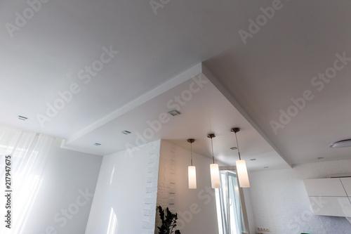 Obraz na płótnie Gypsum board ceiling of house at construction site