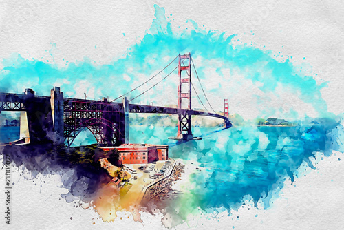 Golden Gate Bridge as watercolor