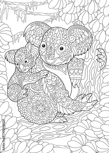 Fototapeta premium Kolorowanka. Kolorowanka. Kolorowanie obrazka z misiami Koala.