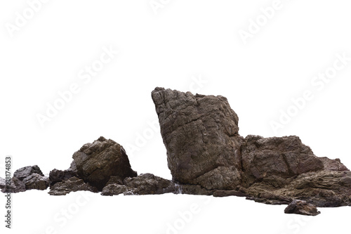 Rock cliff in nature isolated on white background. Fototapeta