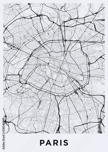 Lekka mapa miasta Paryż. Mapa drogowa Paryża (Francja). Czarno-biała (lekka) ilustracja paryskich ulic. Format plakatu do druku (pionowy).