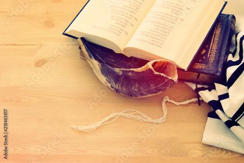 Fototapeta Prayer Shawl - Tallit, Prayer book and Shofar (horn) jewish religious symbols