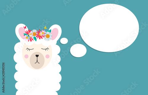 Canvas Print Little cute llama for card and shirt design