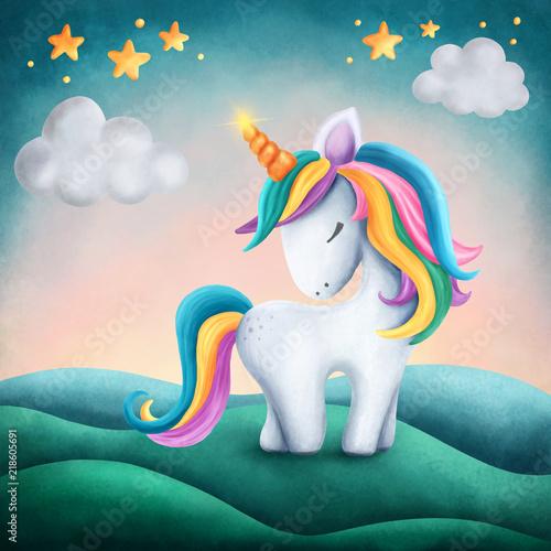 Fototapeta Little cute unicorn