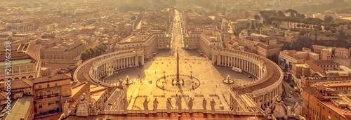 Wallpaper Mural We banner, panoramic aerial view at sunrise of St Peter's square in Vatican, Rom