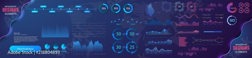 Foto Modern modern infographic vector template with statistics graphs and finance charts