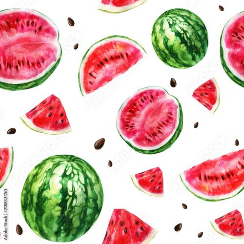 Watercolor illustration, pattern. Watercolor watermelon, pieces of watermelon