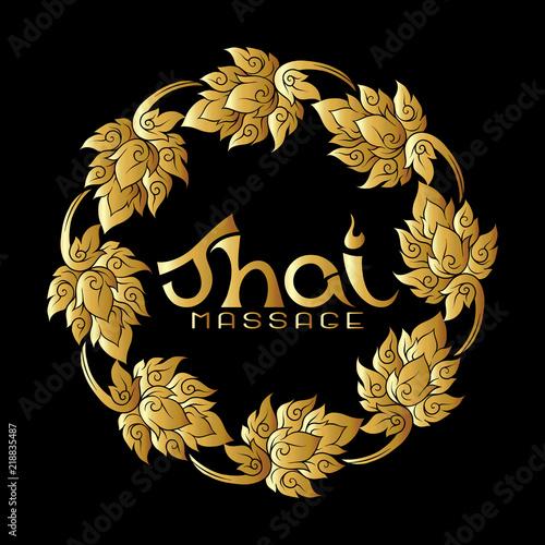 Fototapeta Logo for Thai massage with traditional thai ornament, pattern el