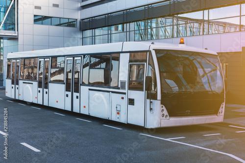 Airport shuttle bus near the terminal