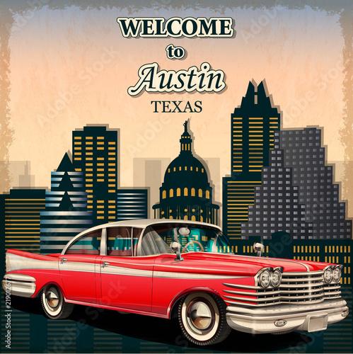 Obraz na plátne Welcome to Austin retro poster.Печать