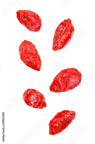 Flying Goji berry in a bowl on isolated