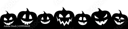 Fotografiet Halloween banner with funny silhouettes of pumpkins. Vector.