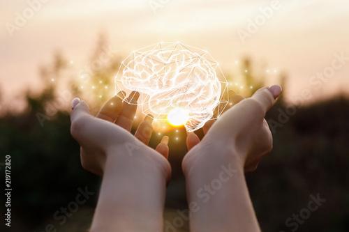 Stampa su Tela Female hand shows the brain .