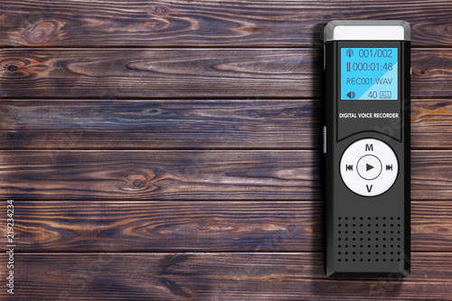 Leinwand Poster Journalist Digital Voice Recorder or Dictaphone. 3d Rendering
