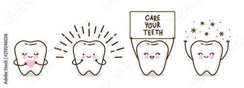 Fotografie, Obraz Set of cute little teeth isolated on white