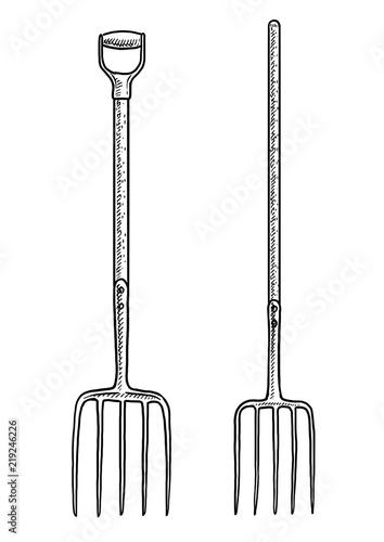 Fototapeta Pitchfork illustration, drawing, engraving, ink, line art, vector