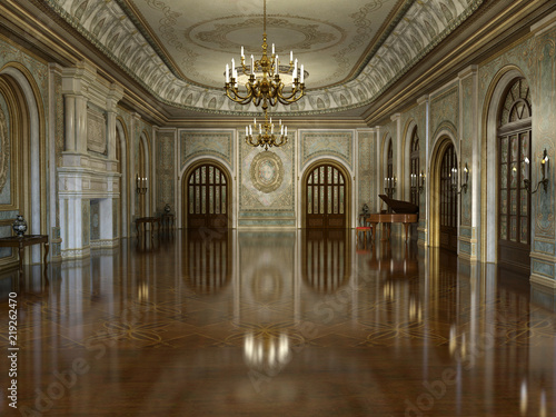 Fotografering 3d render of a golden luxury palace interior decorated with white marble and gol