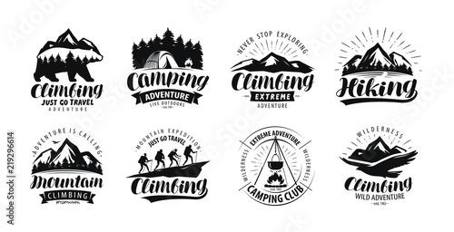 Camping, climbing logo or label Fototapeta