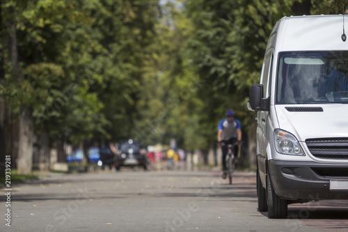 White passenger medium size commercial German luxury minibus.