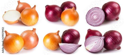 Stampa su Tela Fresh onion on white background