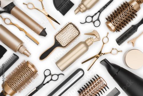 Valokuvatapetti Full frame of professional hair dresser tools on white background