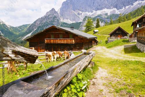 Neustattalm - traditional Austrian mountain village close to Dachstein, Austria.