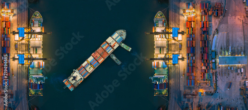 Photo Aerial view container ship from sea port working for delivery containers shipment