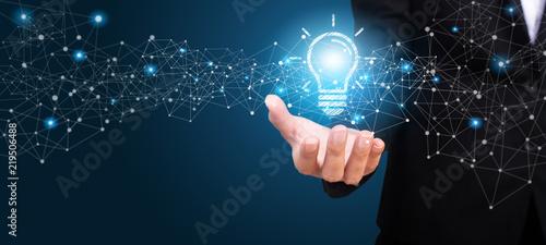 Innovative idea in the hand of businesswoman. Innovative idea Concept