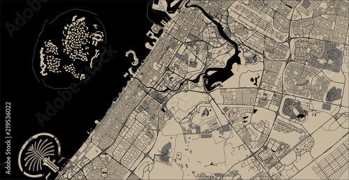 Obraz na plátně map of the city of Dubai, United Arab Emirates UAE