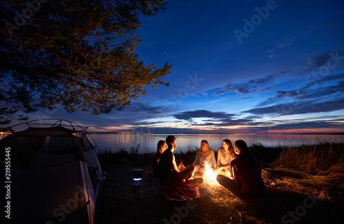 Tablou Canvas Night summer camping on sea shore
