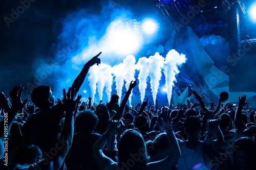 Crowd jumping at a festival