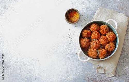 Meatballs stewed in tomato sauce
