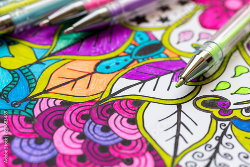 Leinwand Poster Adult coloring book, new stress relieving trend