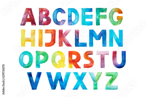Murais de parede Colorful watercolor aquarelle font type handwritten hand draw abc alphabet letters