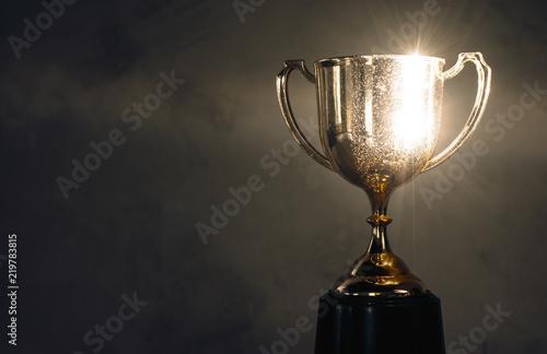 Obraz na plátně champion golden trophy placed on wooden table