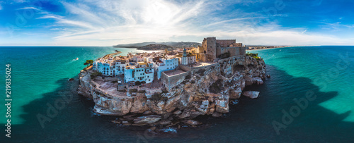 Peniscola,Valencia, Spain. Panoramic drone arial view Summer 2018.