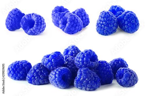 Set with blue raspberries (Rubus leucodermis) on white background