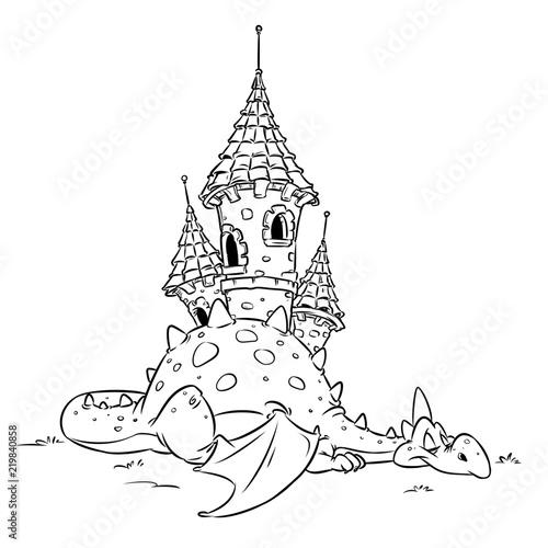 Fototapeta premium Smok bajki bezpieczeństwa średniowieczny zamek zwierząt wesoły ilustracja kreskówka na białym tle obraz kolorowanki