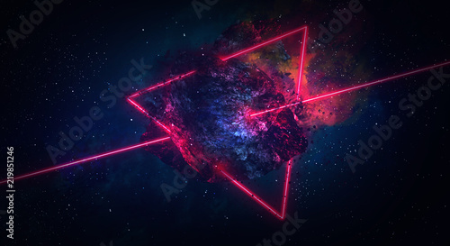 Photo Space abstract background, burning comet, flash, laser through the stone, bright