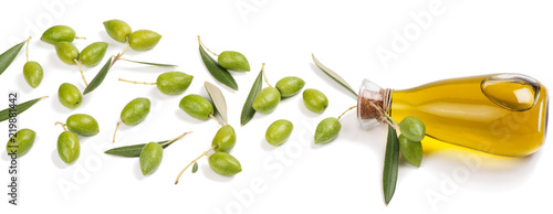Olive fruits and olive oil.