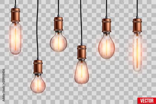 Obraz na plátne Decorative Retro design edison light bulb set