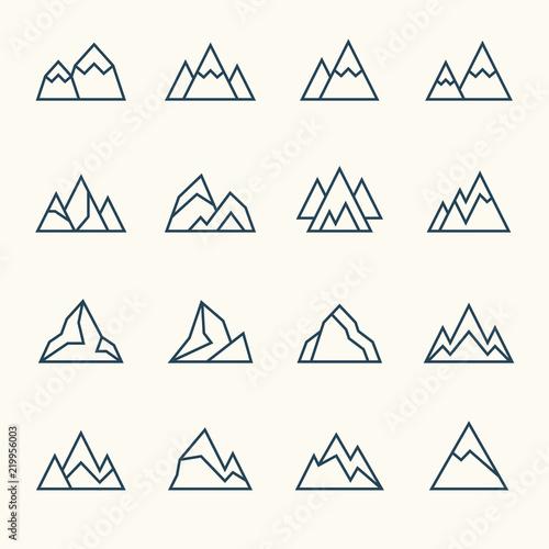 Mountains line icons Fototapete