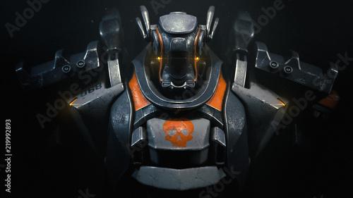 Fotografia Sci-fi mech soldier on a black background
