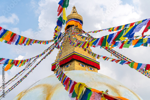 Canvas Print Boudhanath Stupa and prayer flags in Kathmandu