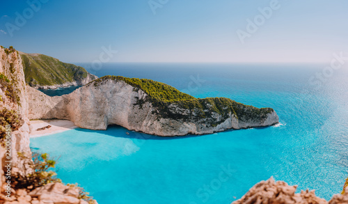 Fotografie, Obraz Panoramic view of Navagio beach, Zakynthos island, Greece