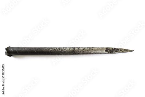 Fotografija Metal stake isolated on white background.