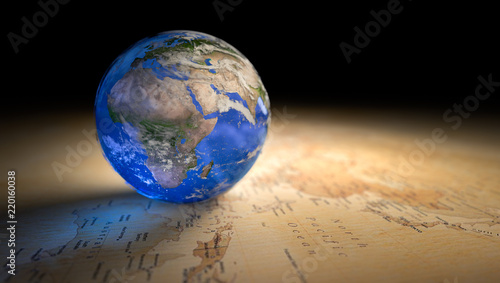 Fotografie, Tablou blue marble earth in map 3d render