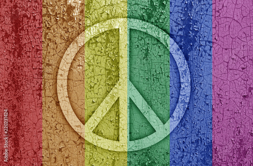 Fotografie, Obraz Sign of peace in rainbow color on a metal background