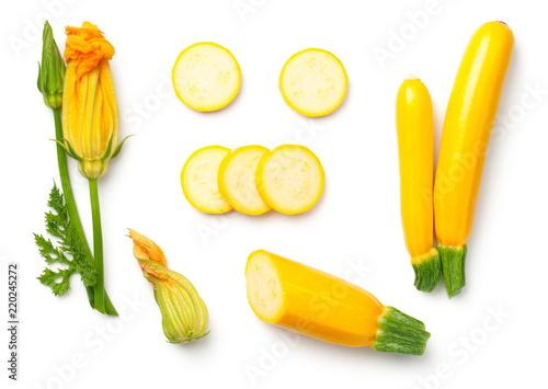 Yellow Zucchini with Leaf and Flower Isolated on White Background