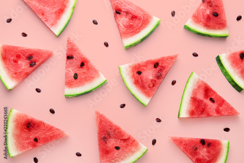 Watermelon slices pattern viewed from above. Top view. Summer concept.